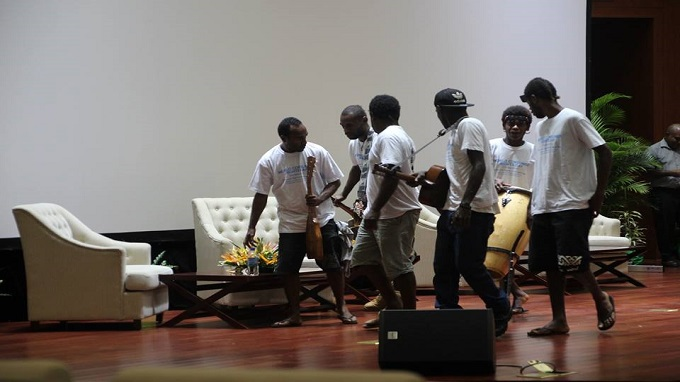 Local boys set up on stage played Consumer Rights Day Song and also performed